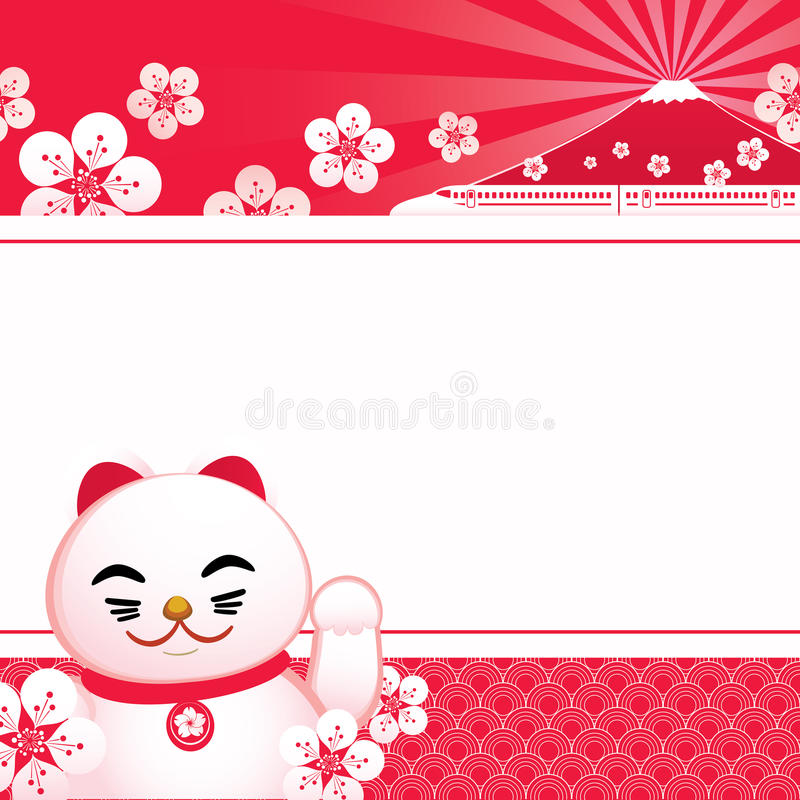 Sakura blossom with Japanese lucky cat and fuji mountain. royalty free illustration