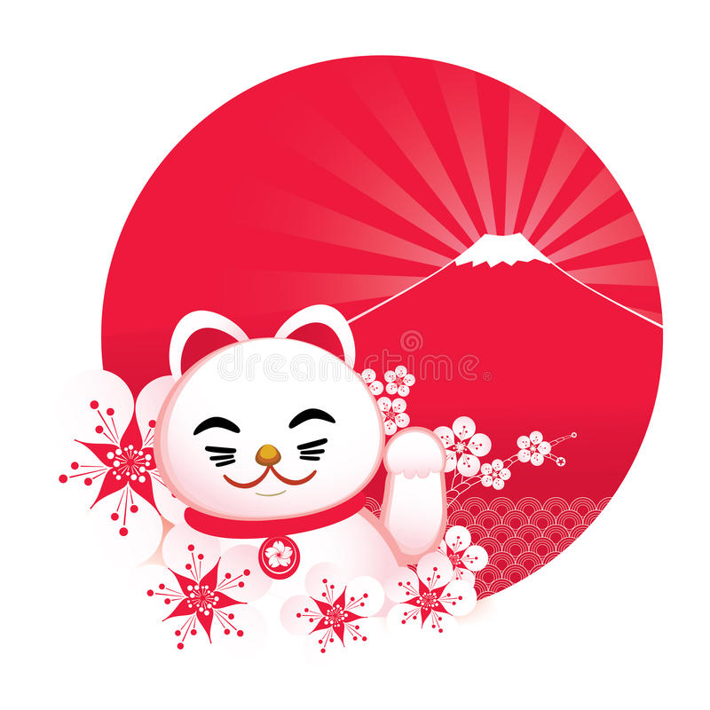 Sakura blossom with Japanese lucky cat and royalty free illustration