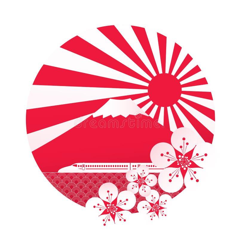 Sakura blossom with red sun royalty free illustration
