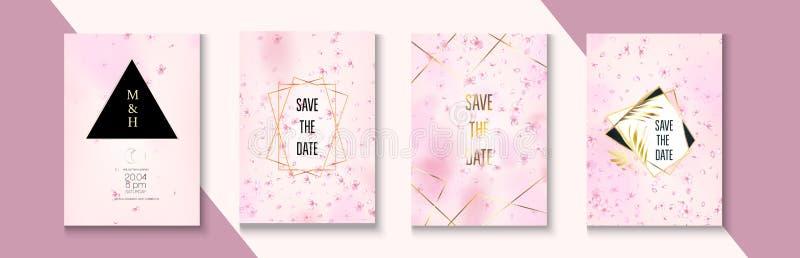 Sakura Blossom Tender Wedding Invitation Set. Tender Celebrtion Border Design. Geometric Business Nature Template. Vector Rich royalty free stock image