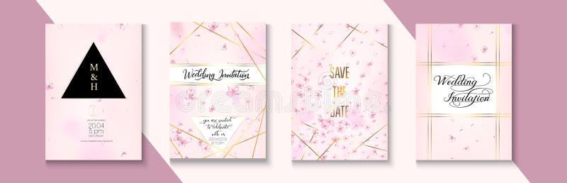 Sakura Blossom Tender Wedding Invitation Set. Tender Celebrtion Border Design. Geometric Business Nature Template. Vector Rich stock images