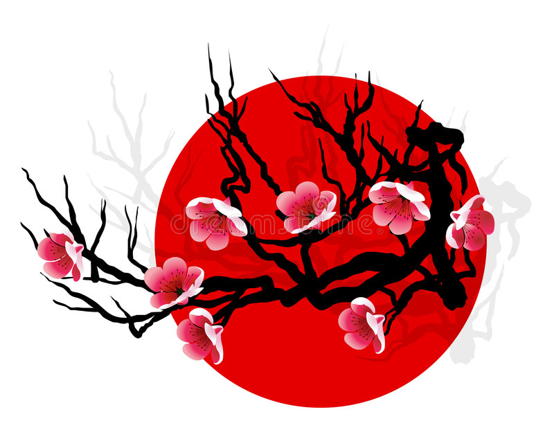 SAKURA branch. Sakura blossoms on tree silhouette over red sun