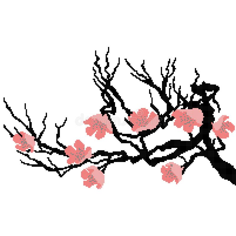 Sakura branch for decoration, drawn by squares, pixels. Vector illustration stock illustration