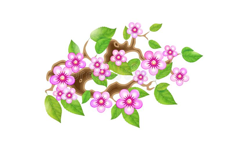 Sakura branch with flowers in anime style, cherry blossom, illustration. Partially animated stylistic solution in. Unorthodox East Asian decoration tradition royalty free illustration