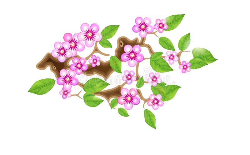 Sakura branch with flowers in anime style, cherry blossom, illustration. Partially animated stylistic solution in. Unorthodox East Asian decoration tradition stock illustration
