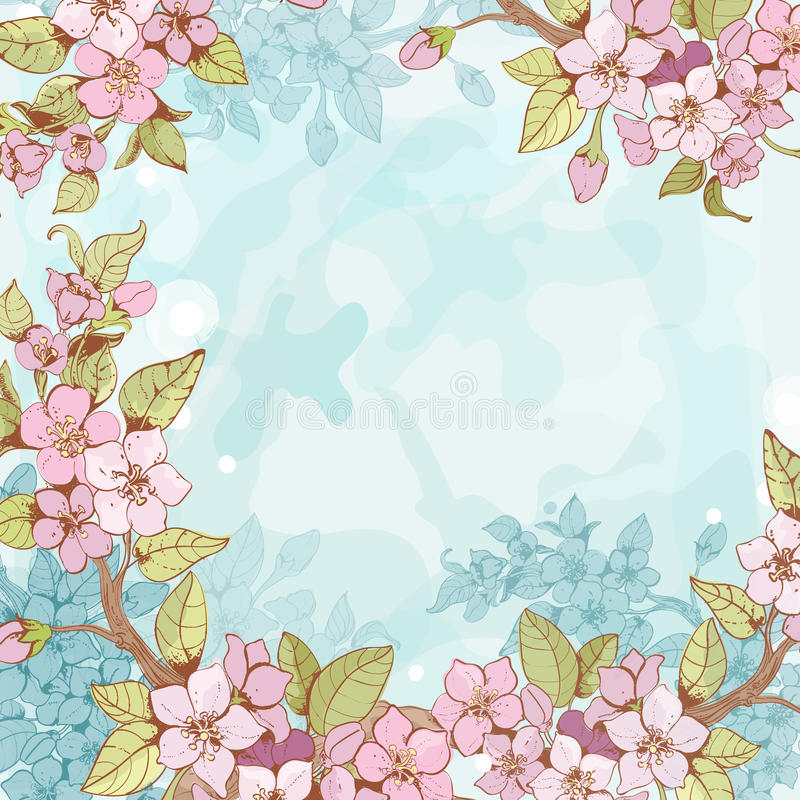 Download Sakura Branch Frame Background Stock Vector - Illustration of illustration, flowers: 39503412