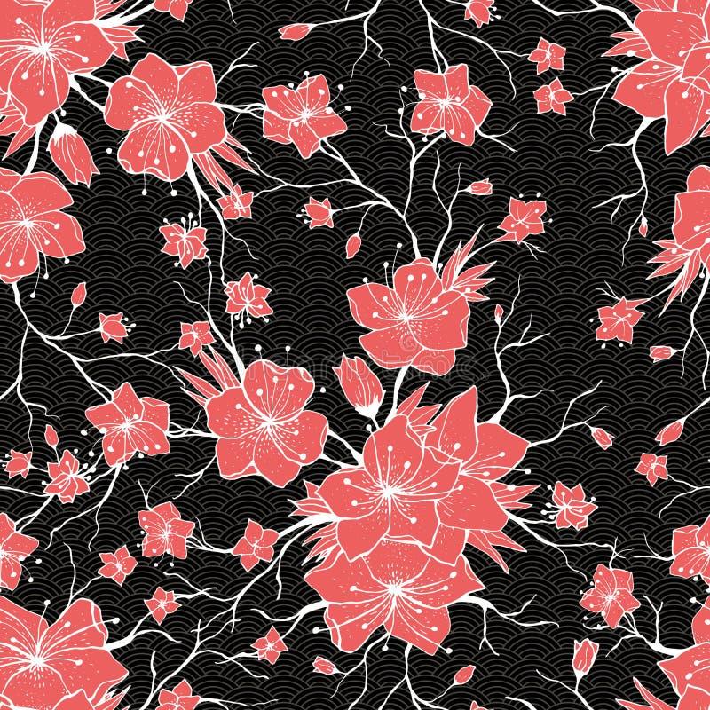 Sakura Branch japonesa e flores de florescência Teste padrão sem emenda clássico ilustração do vetor