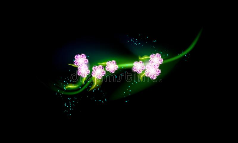 Sakura branch with Pink flowers in anime style, cherry blossom, glow illustration. Stylistic solution in unorthodox royalty free illustration