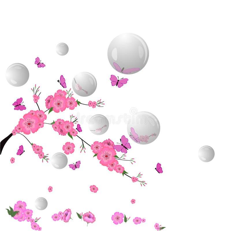 Sakura, butterflie flores de cerejeira cor-de-rosa, bolhas, borboletas ilustração do vetor