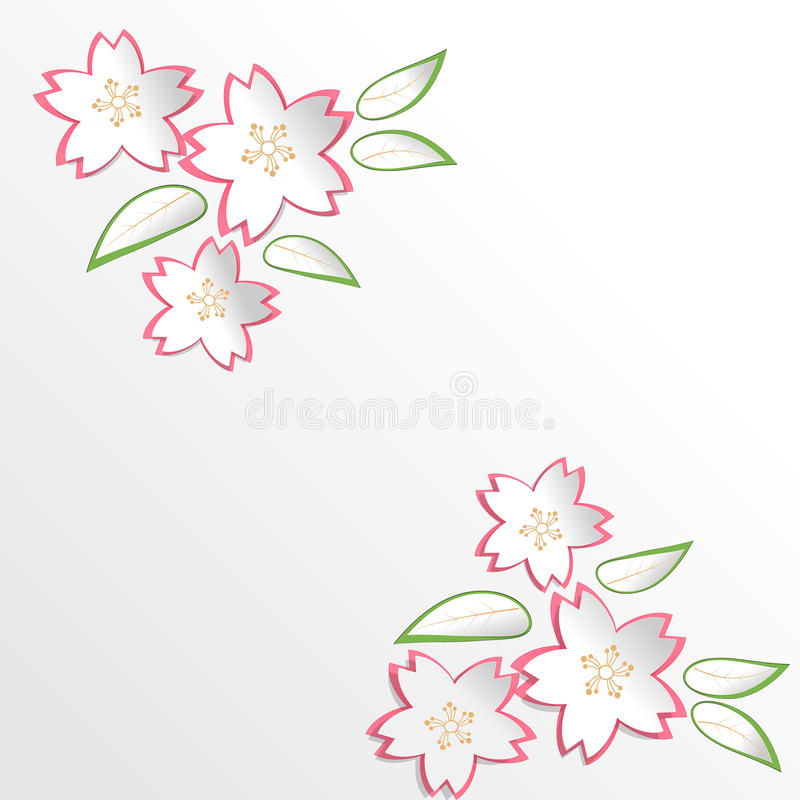 Sakura Cherry Blossom flowers in paper cut style background royalty free illustration