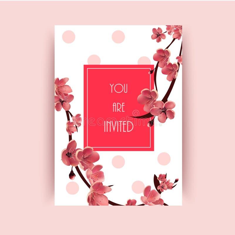 Sakura, Cherry Blossoming Tree Vector Background-Illustratie stock illustratie