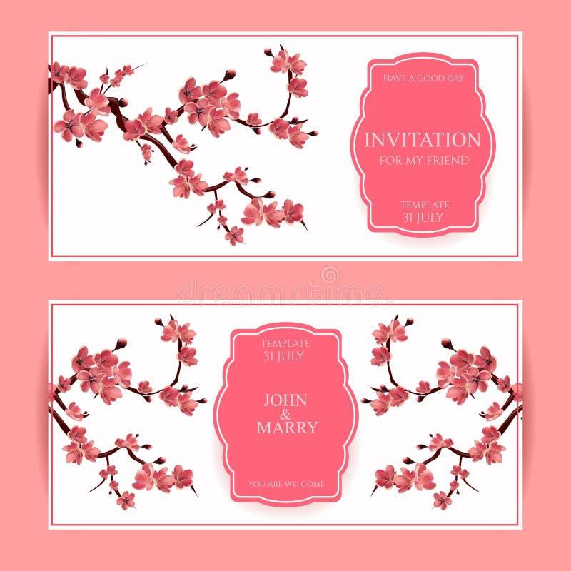 Sakura, Cherry Blossoming Tree Vector Card-Illustratie stock illustratie