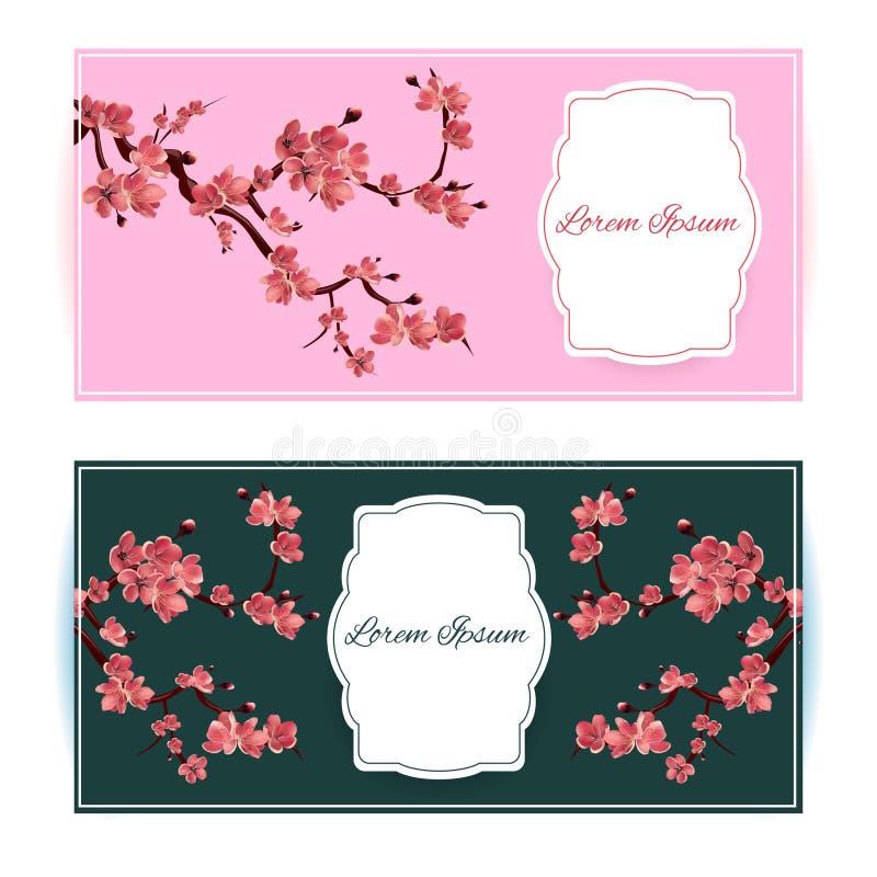 Sakura, Cherry Blossoming Tree Vector Card-Illustratie vector illustratie