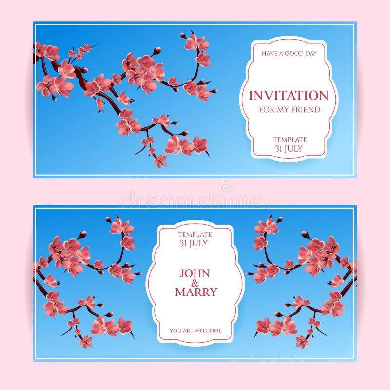 Sakura, Cherry Blossoming Tree Vector Card-Illustratie Reeks Mooie Bloemenbanners, Groetkaarten, Huwelijksuitnodigingen, Bac vector illustratie