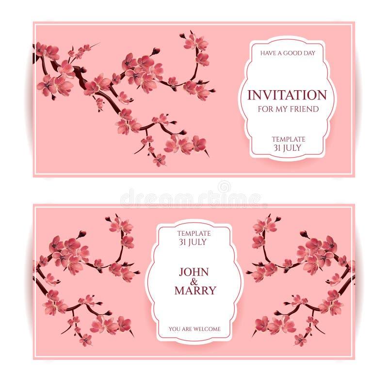 Sakura, Cherry Blossoming Tree Vector Card-Illustratie Reeks Mooie Bloemenbanners, Groetkaarten, Huwelijksuitnodigingen, Bac royalty-vrije illustratie