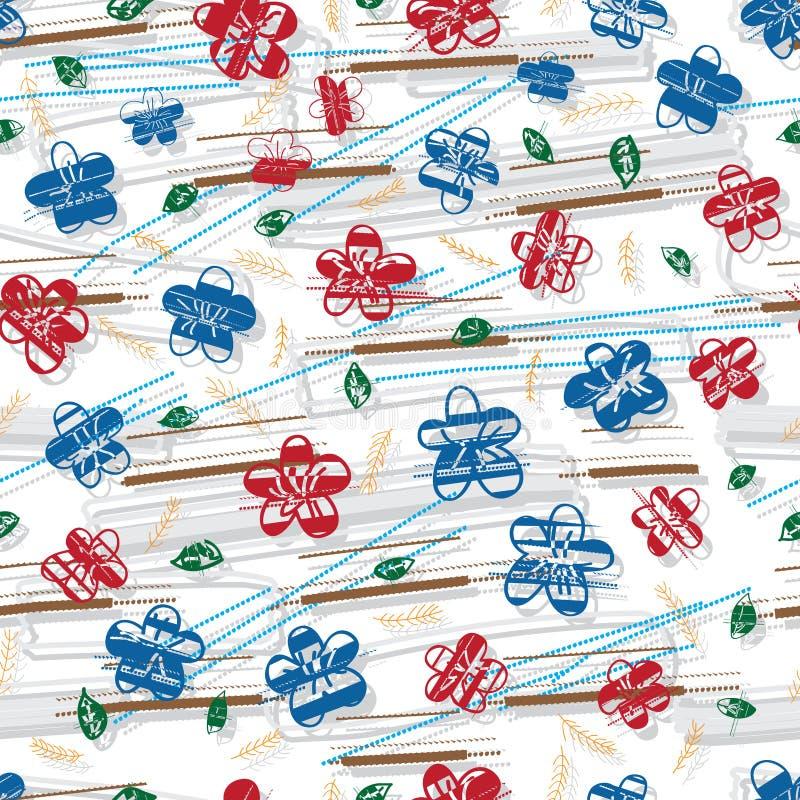 Sakura Chinse Japan English grungy style seamless pattern vector illustration