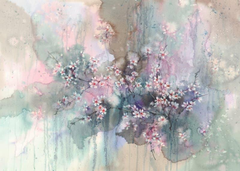 Sakura después de la acuarela de la lluvia stock de ilustración