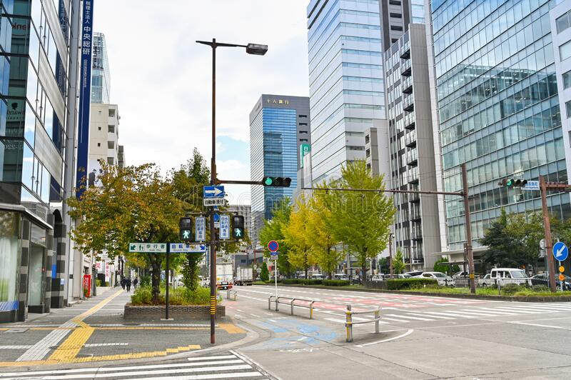 Sakura-dori, Nagoya, Japan royaltyfria foton