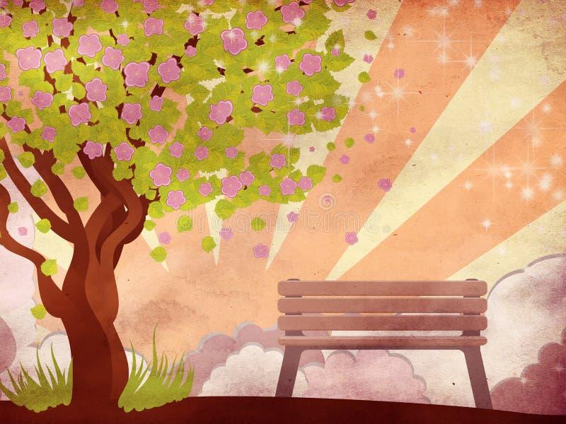 Sakura e banco sul fondo di lerciume illustrazione vettoriale