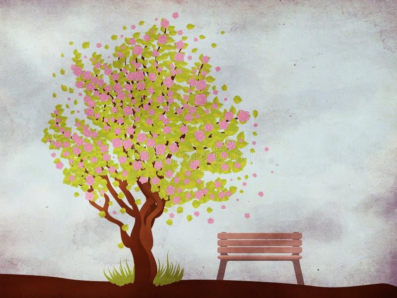 Sakura e banco sul fondo di lerciume royalty illustrazione gratis