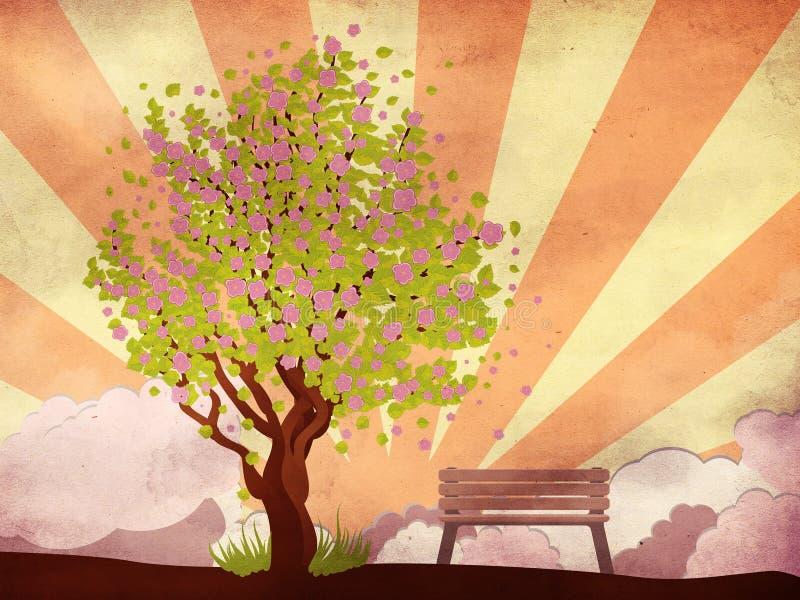 Sakura e banco sul fondo di lerciume illustrazione di stock