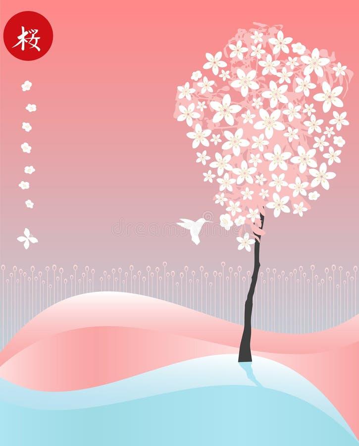 Sakura e colibri ilustração stock