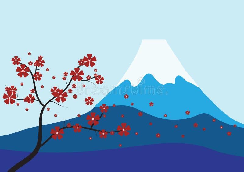 Sakura e Monte Fuji ilustração stock