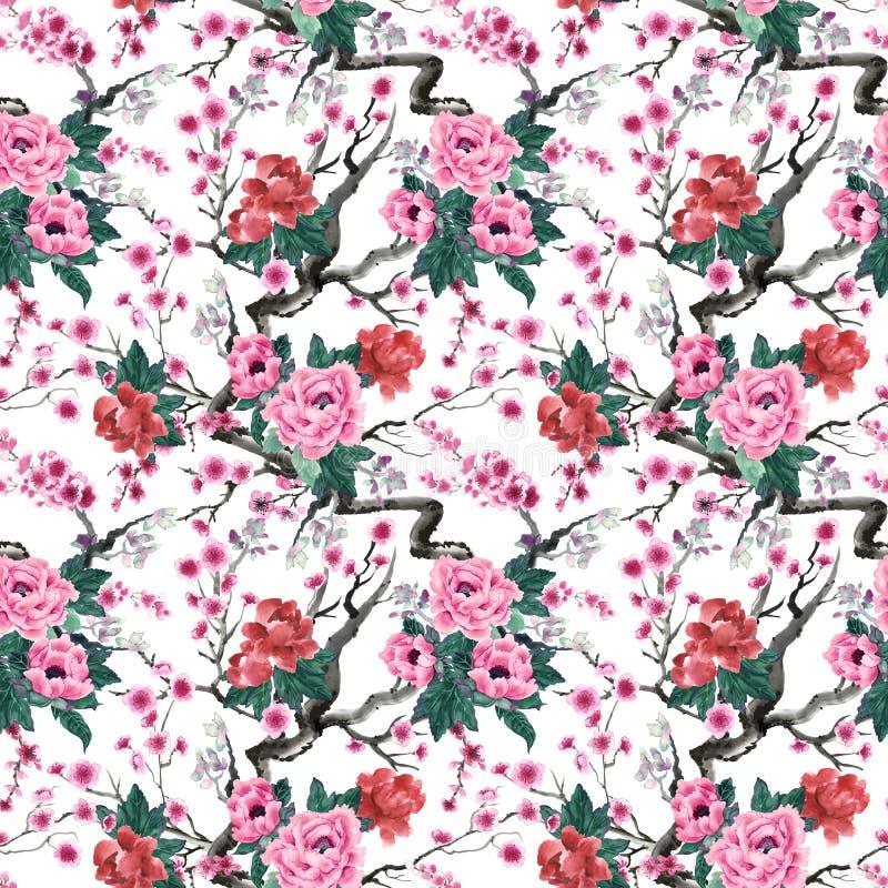 Sakura en pioenbloemen stock illustratie