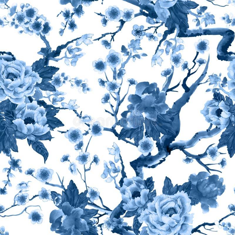 Sakura en pioenbloemen royalty-vrije illustratie