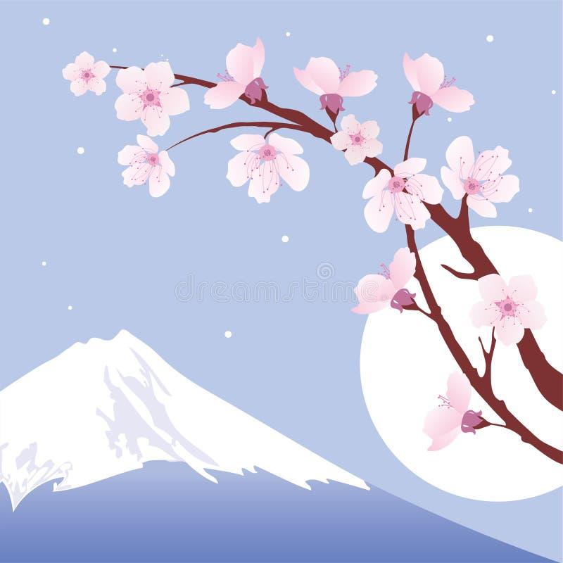 sakura för fuji moonmontering vektor royaltyfri illustrationer