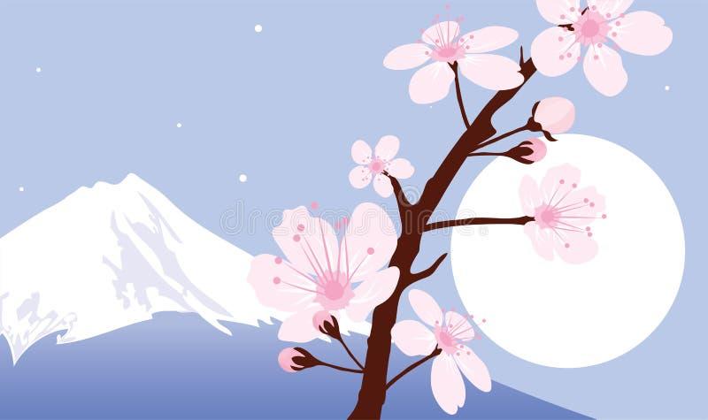 sakura för fuji moonmontering vektor vektor illustrationer