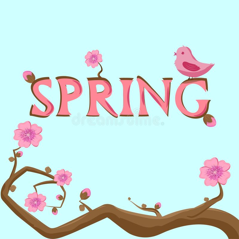 Sakura filial och vår i stora bokstäver vektor illustrationer