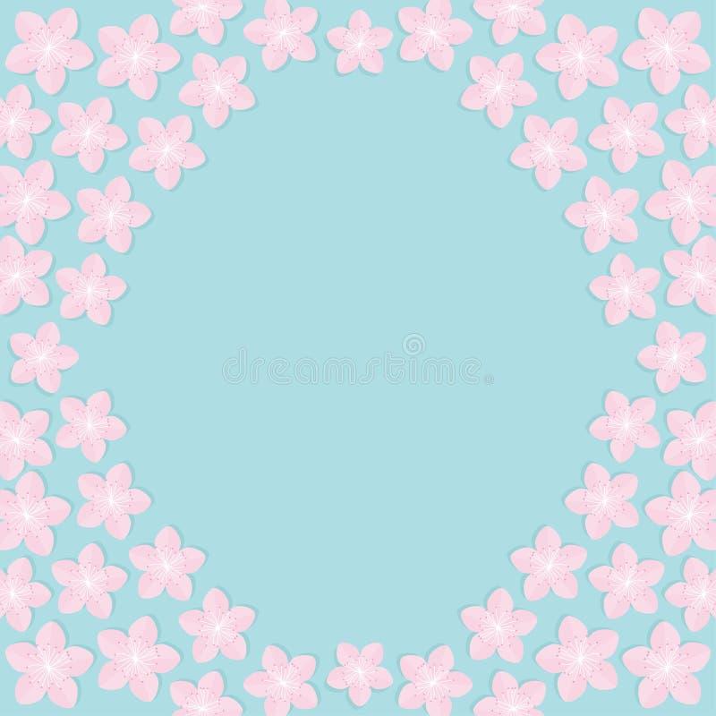 Sakura fiorisce intorno alla struttura Progettazione piana di fioritura del modello blu stabilito del fondo del fiore di ciliegia illustrazione di stock