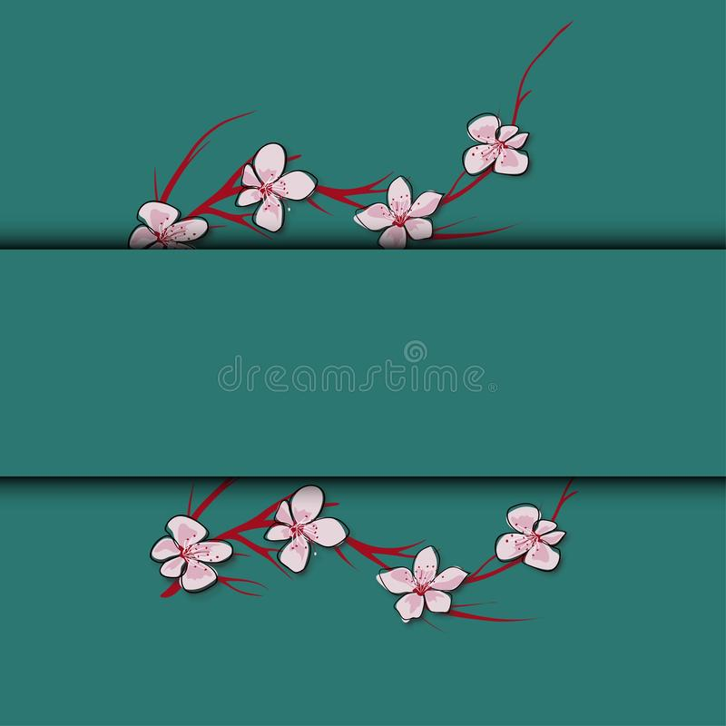 Sakura florece la plantilla del fondo Sistema del vector de floraci?n floral para las invitaciones del d?a de fiesta, la tarjeta  ilustración del vector