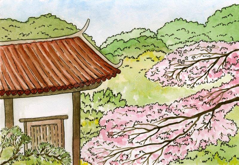Sakura, flores japonesas da árvore de cereja e casa japonesa tradicional com telhado vermelho, ilustração do esboço da aquarela ilustração stock