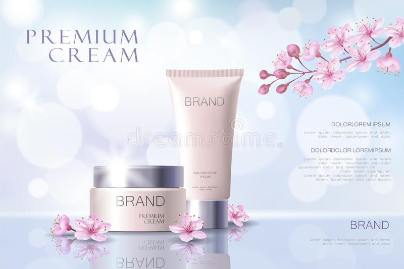 Sakura flower cosmetic promotional poster template. Pink petal blossom japanese branch. Golden pink package realistic 3d. Face care defocused background vector vector illustration