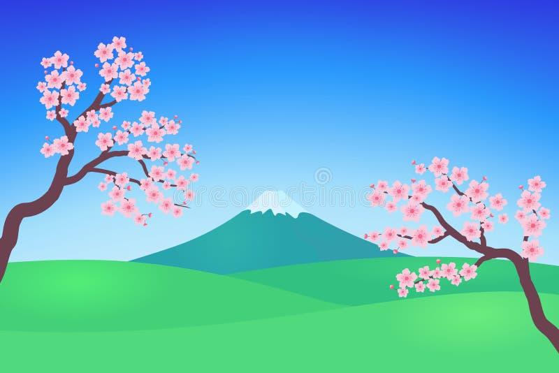 Sakura Flower en Berg in Blauwe Hemelillustratie stock illustratie