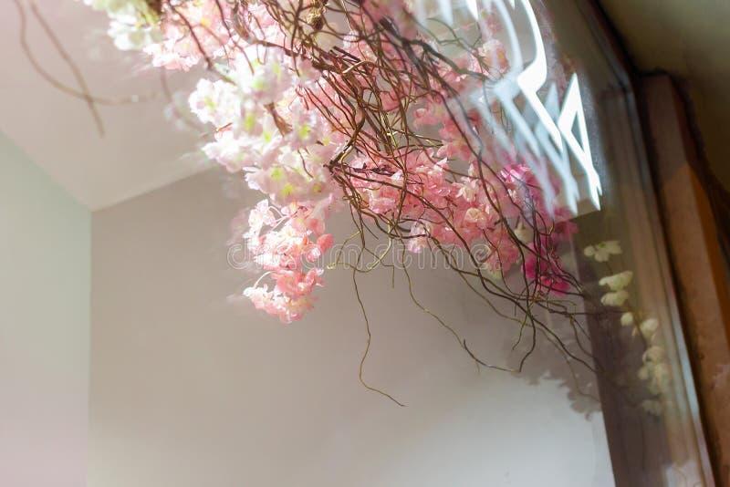 Sakura flower shop showcase. flowers 24 hours. romantic beauty cosmetic royalty free stock photography