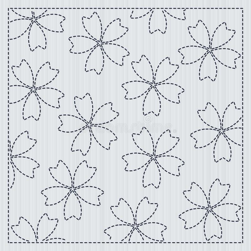 Sakura flowers in the frame Sashiko Quilting motif. Sakura flowers in the frame. Sashiko. Quilting motif for a fancywork. Traditional japanese embroidery vector illustration