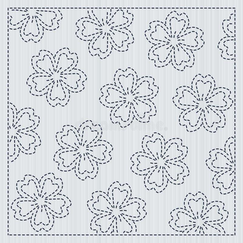 Sakura flowers in the frame Sashiko Quilting motif. Japanese needlework. Sakura flowers. Sashiko frame for handiwork. Spring cherry backdrop. Floral background vector illustration