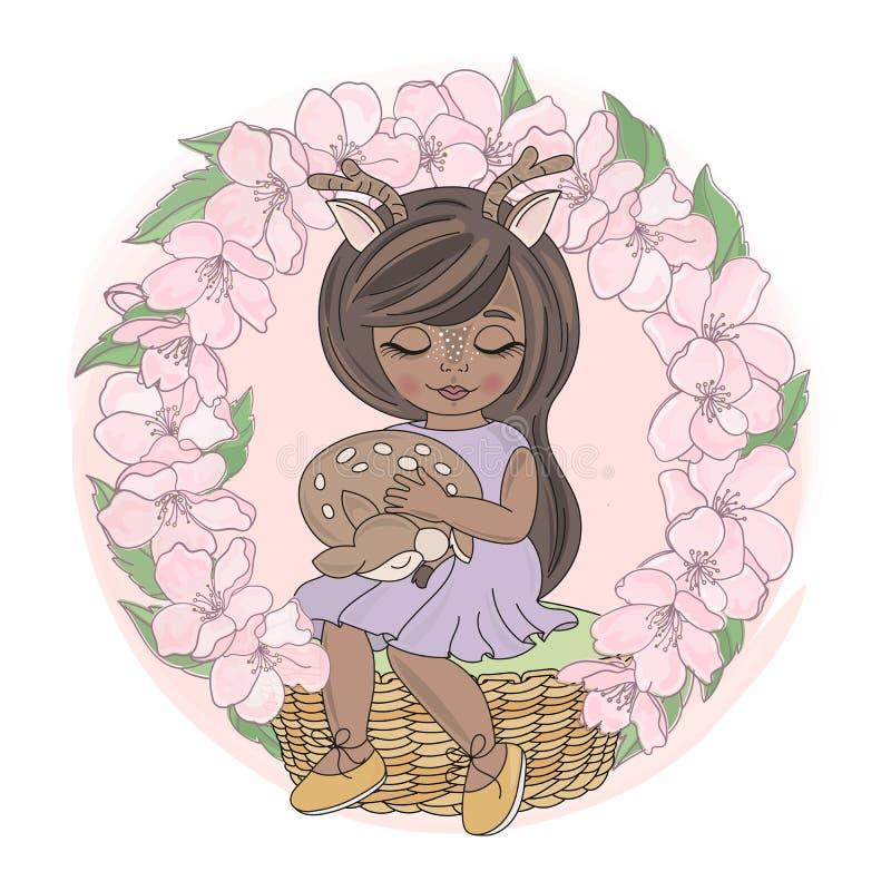 SAKURA GIRL Floral WreatAnimal Vector Illustration Set stock foto's