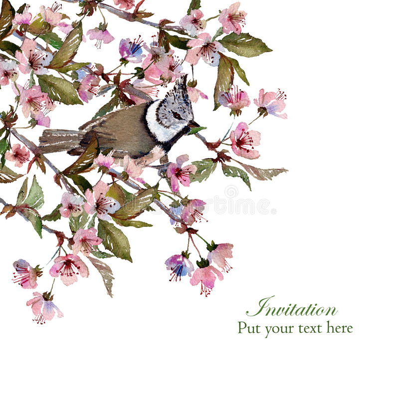 Sakura Greeting Card Template Stock Illustration - Illustration of ...