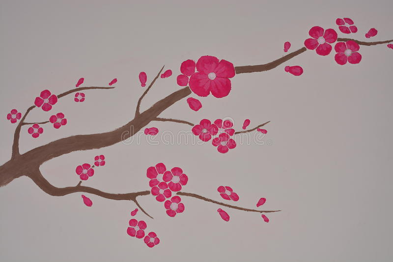 Sakura. The image of Sakura on the wall royalty free stock image