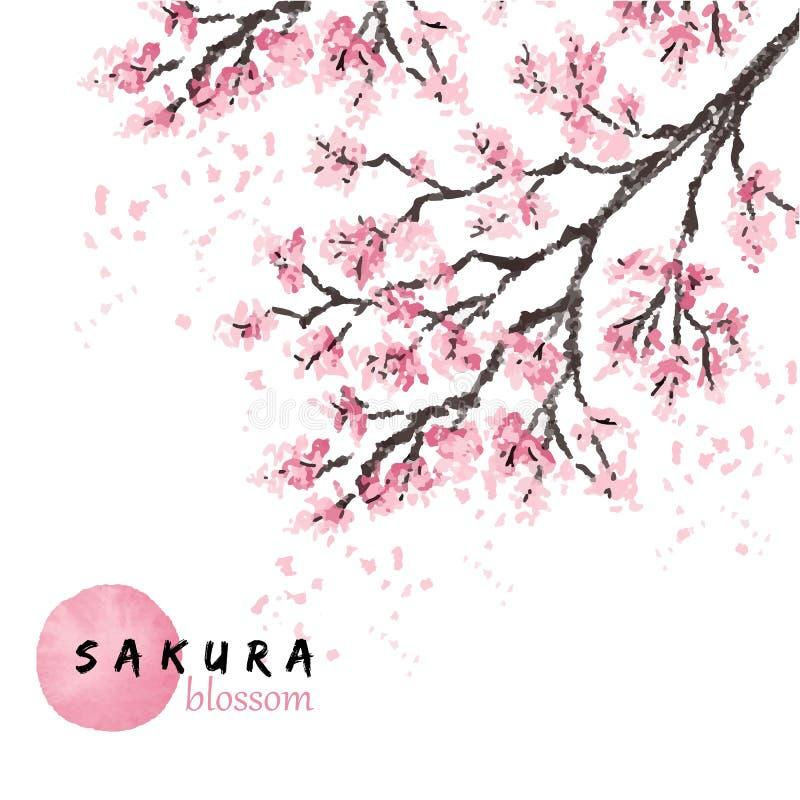 Sakura Japan blommar den körsbärsröda filialen med att blomma vektorillustrationen Hand dragen stil royaltyfri illustrationer
