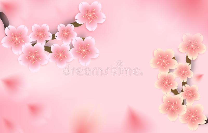 Sakura, körsbärsröd blomning, stansat blom- falla ner bakgrund, pappers- snitt ut och hantverkstil ocks? vektor f?r coreldrawillu vektor illustrationer