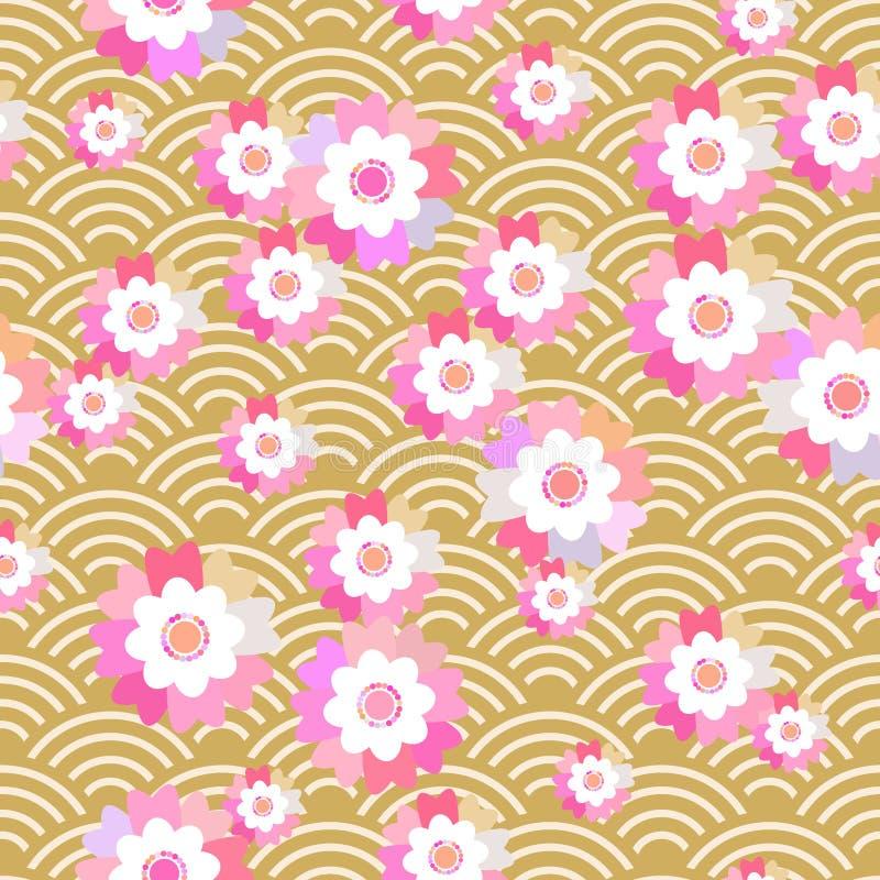 Sakura kwiatów natury bezszwowy deseniowy tło z okwitnięcie menchiami kwitnie brown japończyk fala okręgu wzoru pastelowi kolory  ilustracja wektor