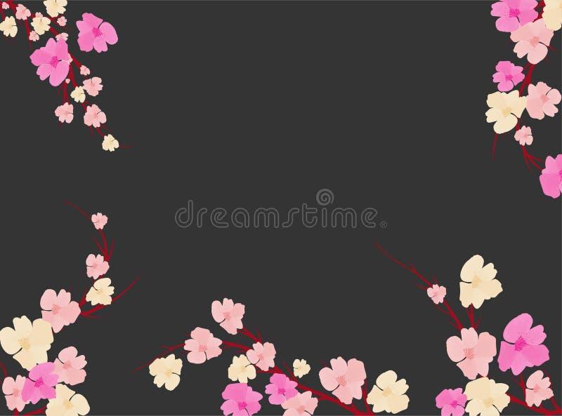Sakura op lichte achtergrond Sakura-vectorbloem Vector florale afdruk Blooming kersenbloesem-bladen Japanse cultuur Floral vector illustratie
