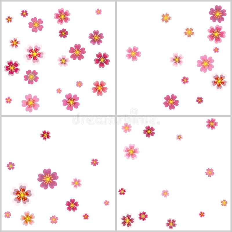 Sakura, pétalos de la flor de la cereza que vuelan los fondos del vector fijados stock de ilustración