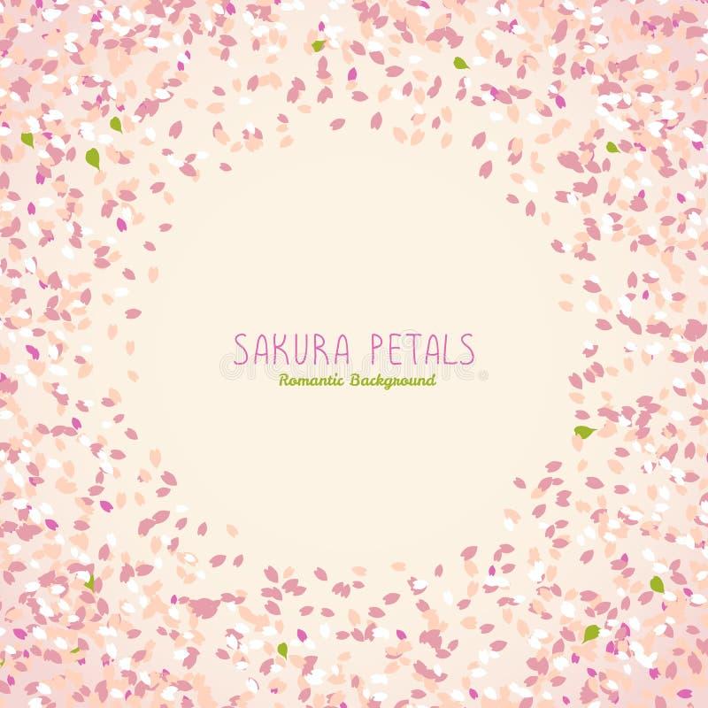 Sakura płatki Wiosny pocztówka Czereśniowi okwitnięcia royalty ilustracja