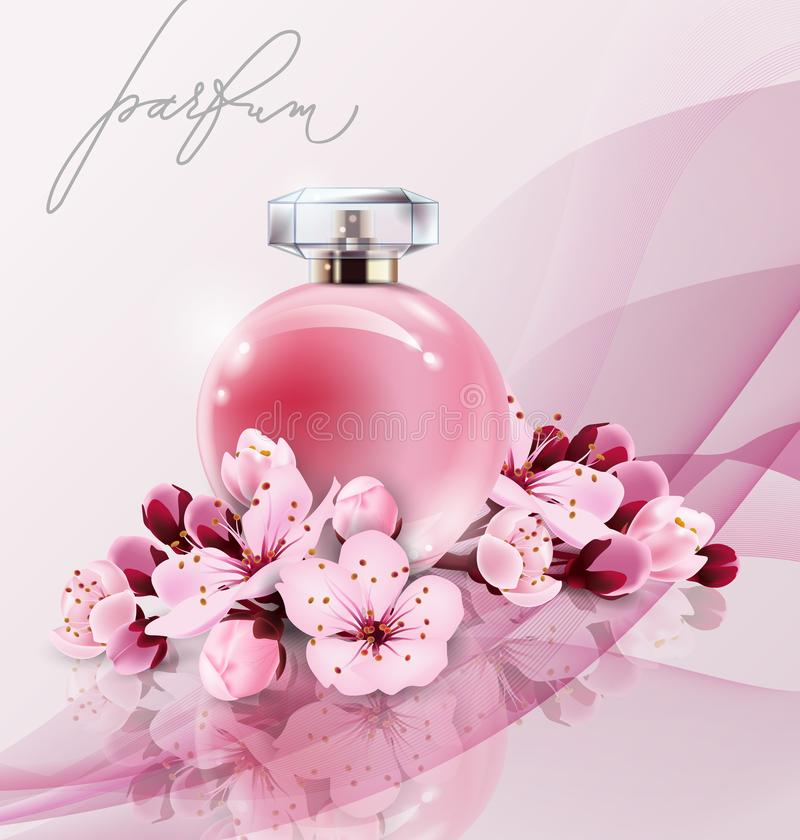 Sakura perfume ads, realistic style perfume in a glass bottle on pink background with sakura flowers. Great advertising. Poster for promoting a new fragrance stock illustration